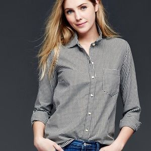 GAP Black and white gingham fitted boyfriend shirt